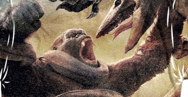 Clearer look at King Kong vs. Giant Skullcrawler artwork from Kong: Skull Island!