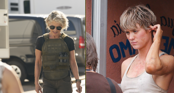 Linda Hamilton and Mackenzie Davis snapped on location filming for new Terminator movie!
