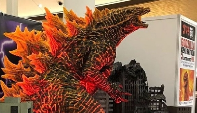 Closer look at Legendary Burning Godzilla statue spotted in Japan!