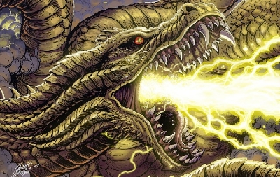 Matt Frank debuts new King Ghidorah artwork!