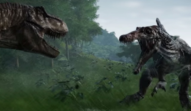 Shots fired! T-Rex vs. Spinosaurus rematch in Jurassic World Evolution game!