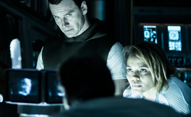 The Covenant crew observe an Engineer hologram in new movie still!