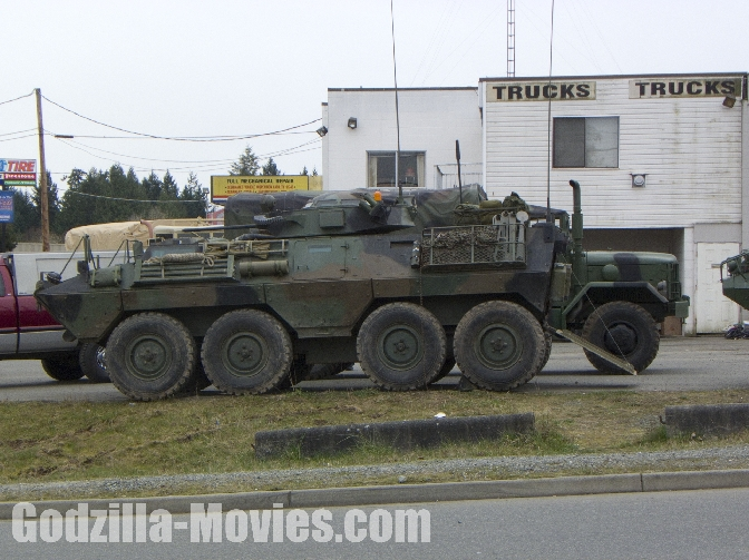 Armored Military Vehicle Spotted on Godzilla Set