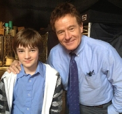 C.J. Adams & Bryan Cranston on set of Godzilla 2014
