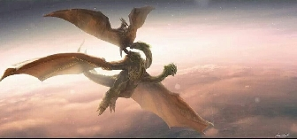 Devils of the Sky - Rodan vs. Ghidorah - Godzilla 2 fan art