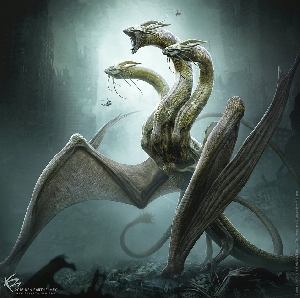 Ghidorah concept art by Ken Barthelmey