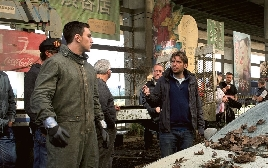 Gareth Edwards & Aaron Johnson on the set of Godzilla