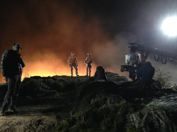 Godzilla 2014 Night Shoot Set Photo