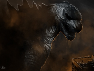 Godzilla 2014 Render Painting by 'Ucaliptic'