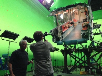 Director Gareth Edwards setting up a shot on the set of GODZILLA!
