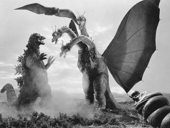Godzilla, King Ghidorah and Mothra Larva