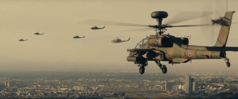 Helicopters get into position as Godzilla approaches