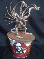 King Ghidorah sculpture made of KFC chicken bones