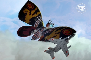 Mothra flying above the clouds.