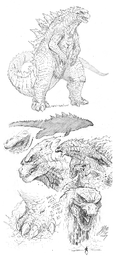 Godzilla 2014 sketches by Matt Frank