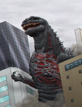 Shin-Gojira enters city