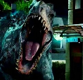 The Indominus Rex reacts to seeing the T-Rex