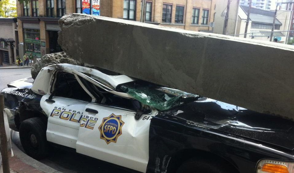 Cop Car Destroyed in 'San Francisco' setting for Godzilla 2014