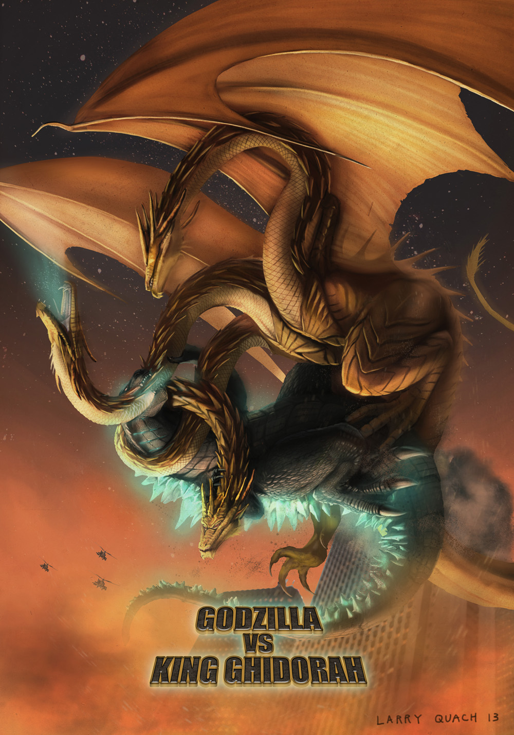New Godzilla vs. King Ghidorah Poster - Art by Larry Quach