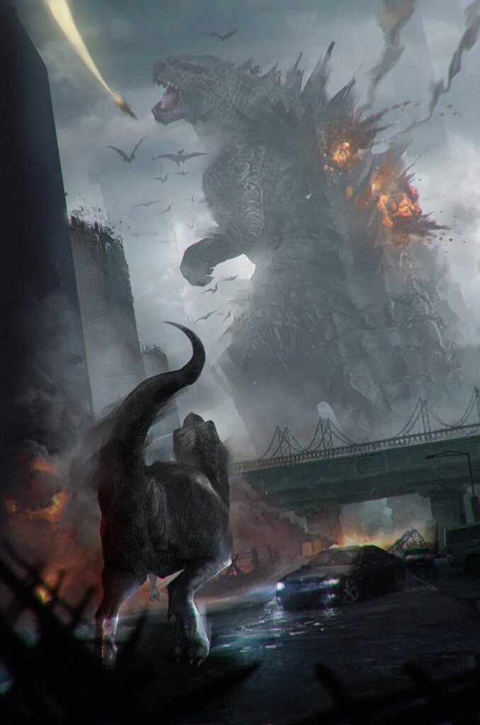 Godzilla vs. Jurassic World Dinosaurs Fan Art
