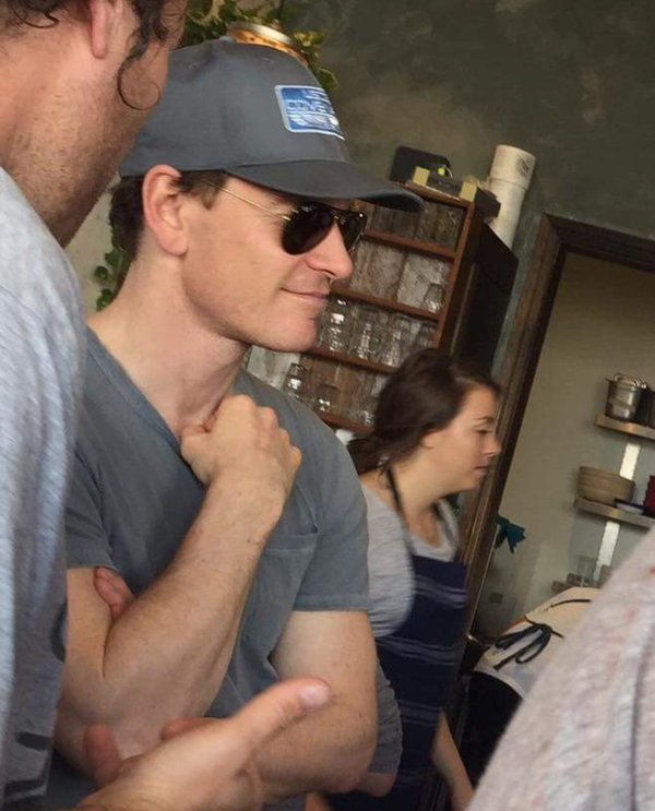 Michael Fassbender wearing a Covenant crew ballcap!