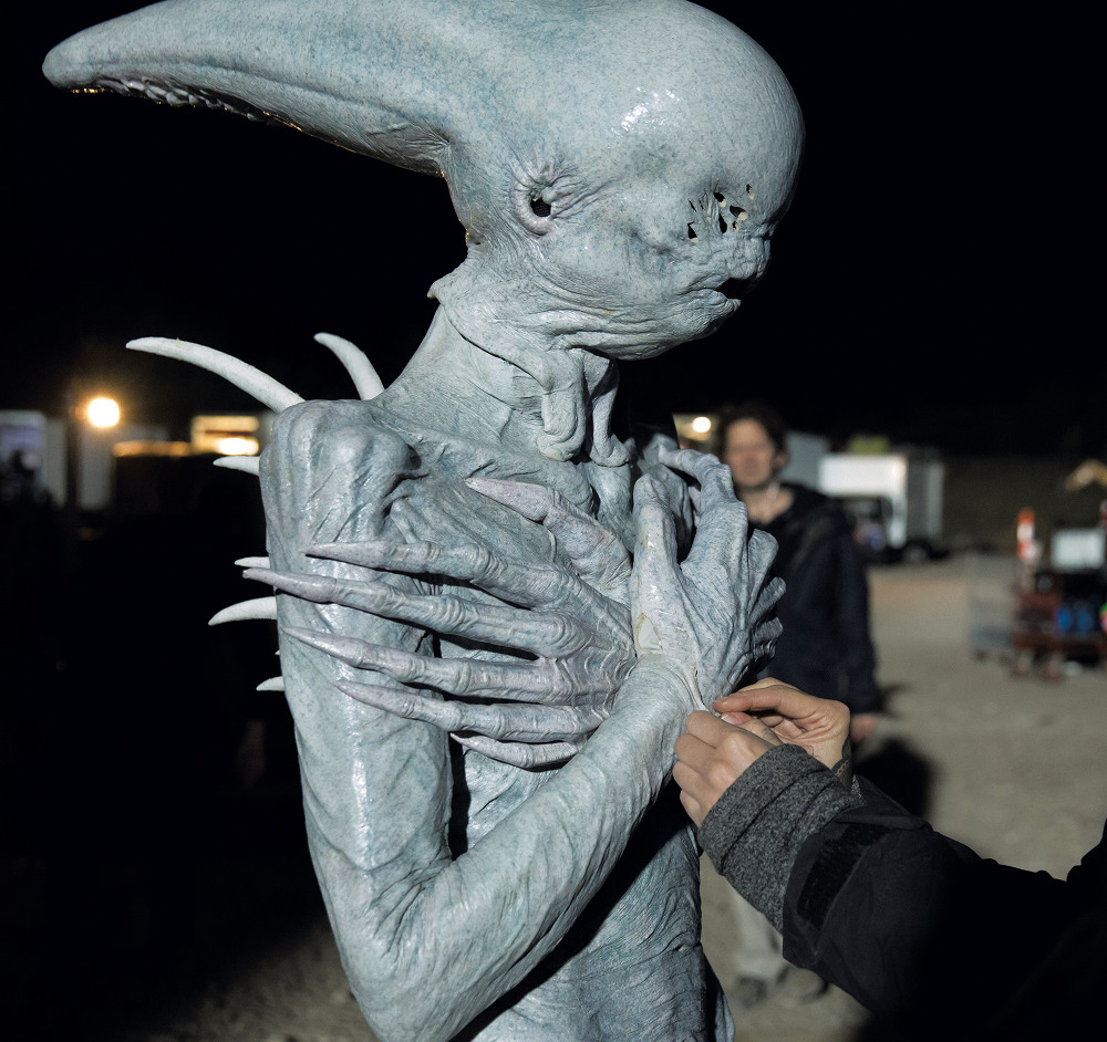 Putting the finishing touches to the Neomorph on set.