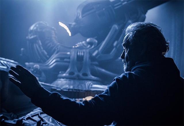 Ridley Scott birthday celebratory Alien: Covenant set photo