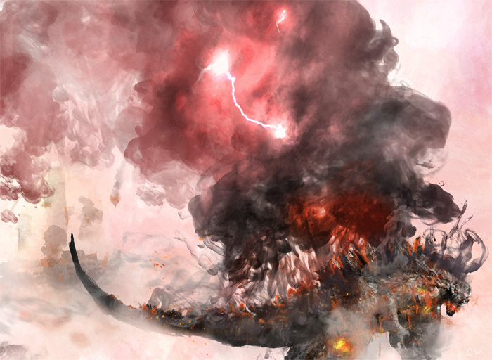 My Burning Godzilla digital painting [updated with High Res pic]