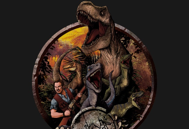 Jurassic World Raptor Squad with T-Rex custom shirt and phone case!