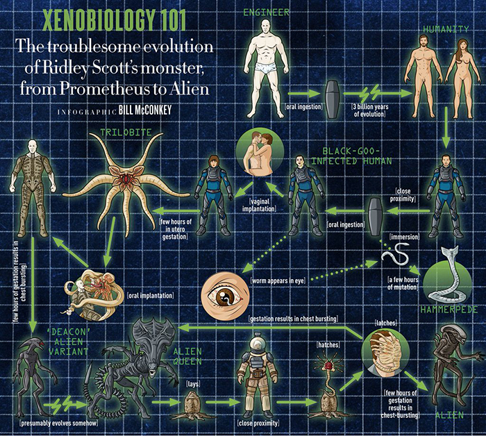 Infographic Attempts to Break Down Xenobiology from 'Prometheus' Through 'Aliens'