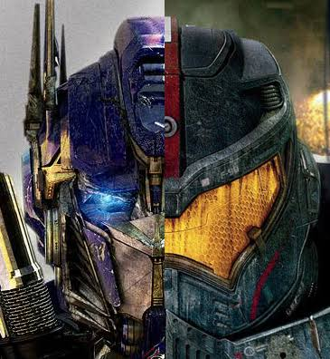 Gypsy danger VS bumblebee, Optimus prime and megatron