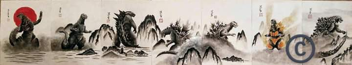 My Godzilla Japanese ink paintings