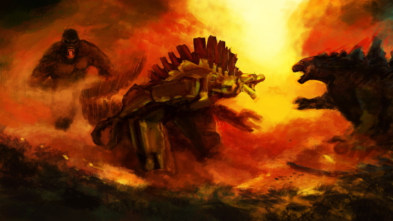 Awesome Godzilla vs. Kong vs. Mechagodzilla digital artwork by Danny Gonzalez!