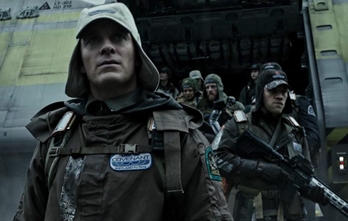 Is this David 8 walking off the lander with the Covenant crew?
