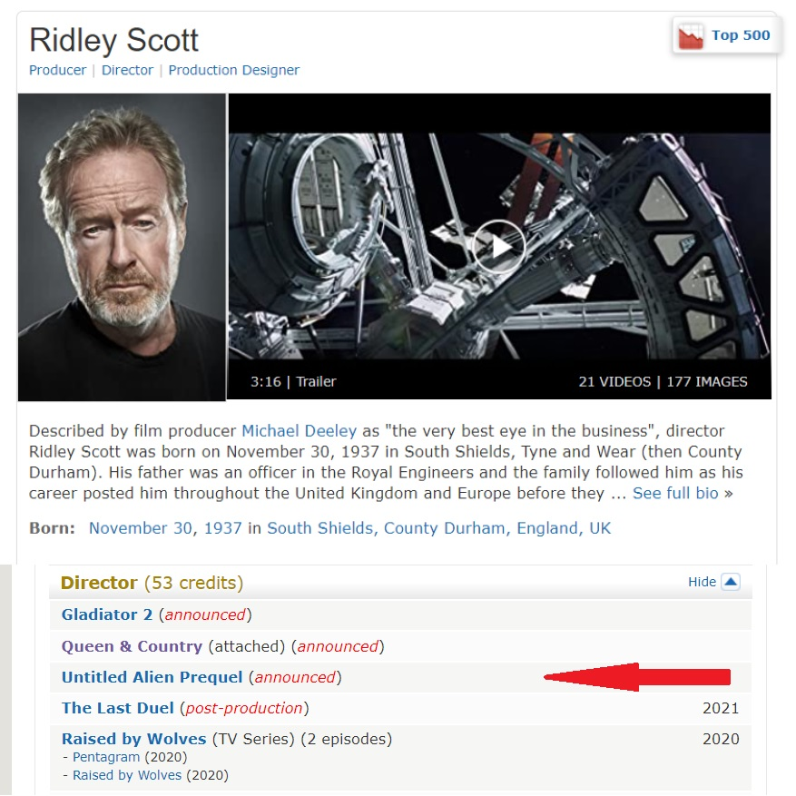 About RS schedule IMDB and Alien proyect